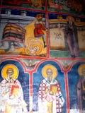 Painted walss in Moldovita Monastery, Moldavia, Romania Royalty Free Stock Photography