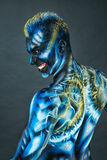 Painted Warrior BB147579. This is an image of a young martial artist bodypainted to look like a demon warrior Royalty Free Stock Images
