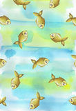 Painted watercolor background with children`s golden yellow fish fishes Royalty Free Stock Image