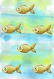Painted watercolor background with children`s golden yellow fish fishes Stock Photos