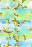 Painted watercolor blurred background in blue and yellow tones with golden yellow large and small fish Royalty Free Stock Image