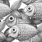 Painted watercolor seamless background, fish black and white color, large pattern Stock Photo