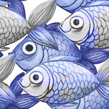 Painted watercolor seamless background, fish black and white with lilac divorce, large figure Stock Photos