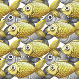 Painted watercolor seamless background, fish black and white with yellow fish, fine pattern. Watercolor pattern seamless background of large-sized fish for Stock Image