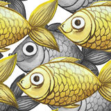 Painted watercolor seamless background, fish black and white with yellow fish, large pattern. Watercolor pattern seamless background of large-sized fish for Stock Images