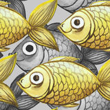 Painted watercolor seamless background, fish black and white with yellow fish, large pattern Stock Image