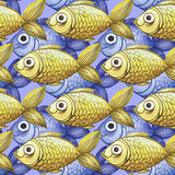 Painted watercolor seamless background, yellow and purple fish, fine drawing Stock Images