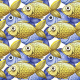 Painted watercolor seamless background, yellow and purple fish, fine drawing. Watercolor drawing seamless background of small fish for decoration, children`s Stock Photo