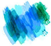 Painted Watercolors. Colorful watercolor background design painted in bright vivid colors of pretty blues and greens stock illustration