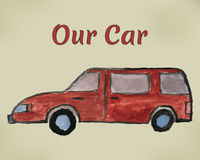 Painted watercolors red car. Stock Images