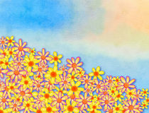 Painted Watercolour Spring Flower Border Decoration Royalty Free Stock Photos