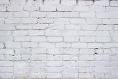 Painted in white brick wall. The old masonry of brick painted white Royalty Free Stock Image