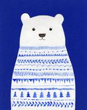 Painted White polar bear. White polar bear painted in watercolor stock image