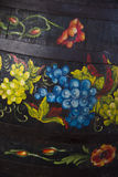 Painted wine barrel. A close up of a wine barrel royalty free stock photography