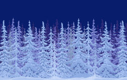Painted winter fairy forest. Snow-covered fir trees in the forest stock illustration