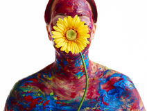 Painted woman and flower Stock Image