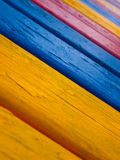 Painted wood. A freshly painted wooden bench stock photography