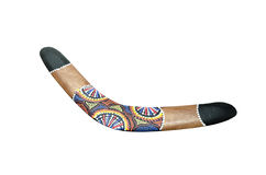 Painted wood boomerang Royalty Free Stock Photography