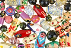 Painted wooden beads for jewelry Royalty Free Stock Image