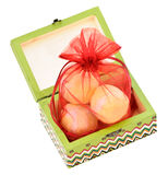 Painted wooden box with gift Stock Photo