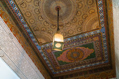 A painted wooden ceiling of the Bahia Palace in Marrakesh Royalty Free Stock Images