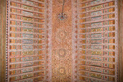 A painted wooden ceiling of the Bahia Palace in Marrakesh Stock Photos