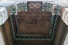 A painted wooden ceiling of the Bahia Palace in Marrakesh Royalty Free Stock Photography