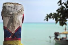Painted wooden columns, a belief of the Moken. Live in the south, Thailand Stock Image