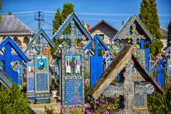 Painted wooden crosses in the beautiful Merry Cemetery in Maramu Royalty Free Stock Photography