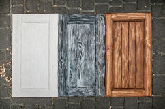 painted wooden doors from cupboards Royalty Free Stock Photography