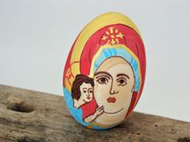 Painted wooden Easter egg. Wooden Easter egg painted by an 8 year old Stock Images