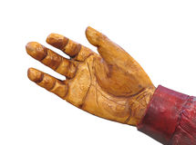 Painted wooden hand isolated Royalty Free Stock Photography