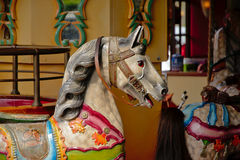 Painted wooden horse on a carousel Royalty Free Stock Images