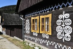 Painted Wooden House. The painted folk wooden house in Cicmany village - Slovakia Royalty Free Stock Photos