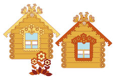 Painted wooden houses on a white background Stock Photography