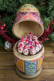 Painted wooden matrioshka doll  and Santa Clauses  from modeling clay. Open matrioshka  doll  with Santa Clauses Royalty Free Stock Image
