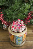 Painted wooden matrioshka doll  and Santa Clauses  from modeling clay. Santa Clauses in an open matrioshka  doll Stock Image