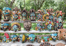 Painted wooden Mayan masks for sale in Chichen Itza Royalty Free Stock Photography