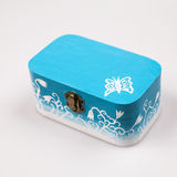 Painted, wooden small box for multiple purposes. Wooden texture Royalty Free Stock Image