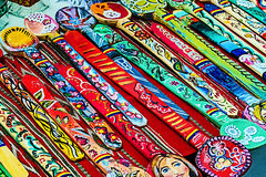 Painted wooden spoons Stock Photography