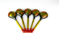 Painted wooden spoons Russian Khokhloma. Royalty Free Stock Photo