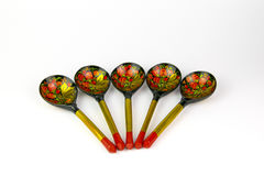 Painted wooden spoons Russian Khokhloma. Stock Photography