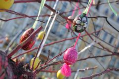 Painted Wooden Ukrainian Easter Eggs on a Tree stock image