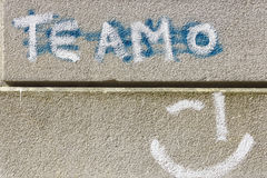 Painted words te amo on stone wall Stock Photos