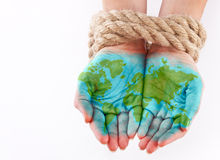 Painted world on hands Stock Photo
