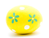 Painted yellow easter egg isolated Stock Photography