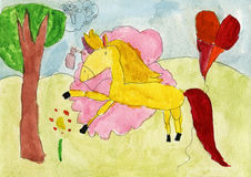Painted yellow horse in pink perfume cloud Stock Images