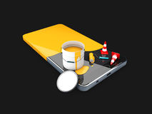 Painted in yellow phone, concept of recovery or renew, 3d Illustration isolated black. Painted in yellow phone, concept of recovery or renew. 3d Illustration Royalty Free Stock Photography