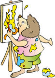 Painter. Hedgehog painter who paints a picture Royalty Free Stock Photo