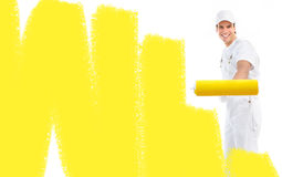 Painter. Young painter man in white suit Stock Photo